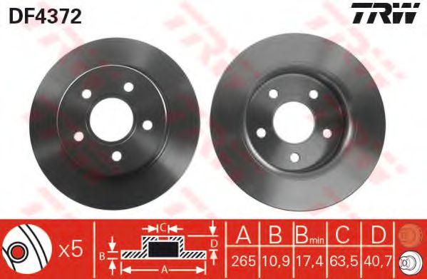 DF4372  TRW - Гальмівний диск  арт. DF4372