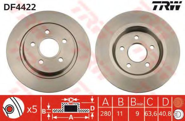 DF4422  TRW - Гальмівний диск  арт. DF4422