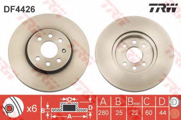 Диск гальмівний перед. Astra H Sedan / Kombi 3.04- (280x25mm) TRW DF4426