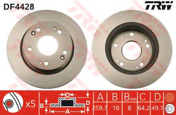 Фото - DF4428  TRW - Гальмівний диск TRW - DF4428