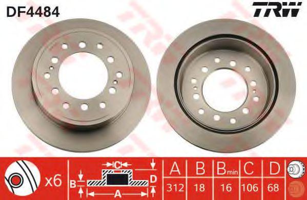 Тормозной диск TRW DF4484
