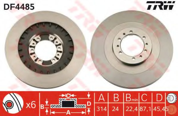 Диск тормозной (пр-во TRW)                                                                           TRW DF4485