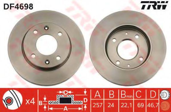 DF4698  TRW - Гальмівний диск  арт. DF4698