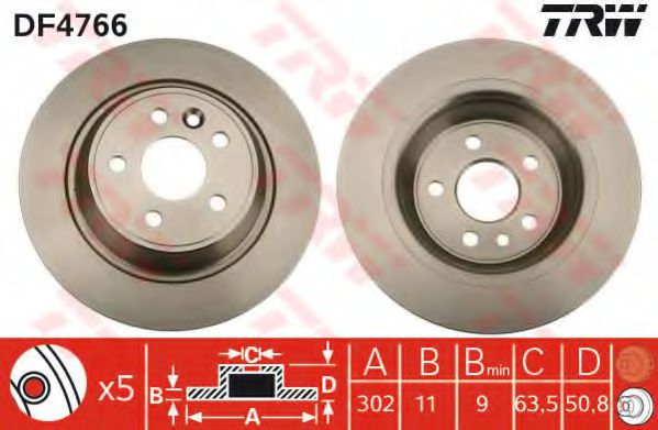 DF4766  TRW - Гальмівний диск  арт. DF4766