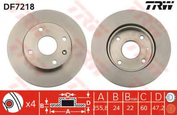 Диск тормозной CHEVROLET LACETTI передн., вент. (пр-во TRW)                                           арт. DF7218