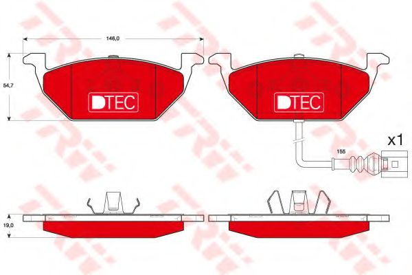 Комплект тормозных колодок, дисковый тормоз JP GROUP арт. GDB1658DTE