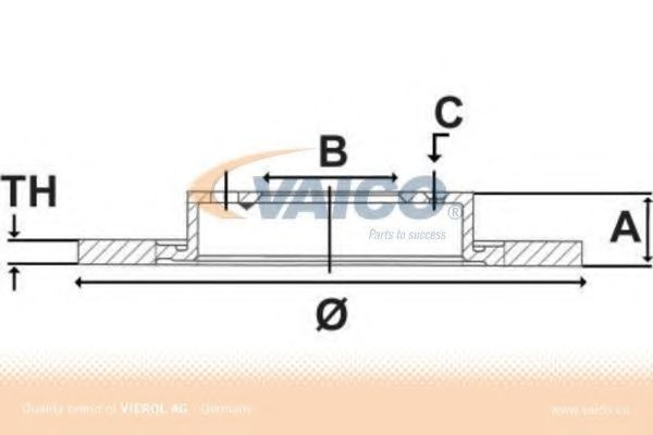 Диск гальмівний передн. Vectra 1.8 92- 256 20 17 VAICO V4080027