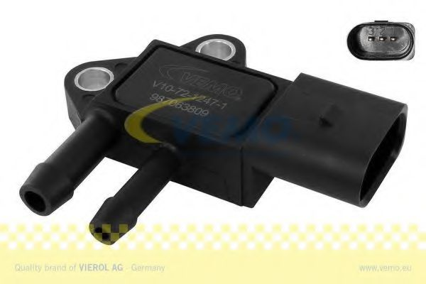 Датчик тиску каталізатора (сажевого фільтра) Audi A4 (B7), A6 (C6), A8, Q7 TDI 03- VW Caddy, Crafter, T5, Passat (B6) 2.0TDI 03-05, Touareg 5.0TDI 02-10 VEMO V107212471