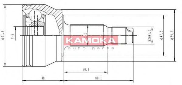 ШРУС ШРУС наружный (комплект) Ford Escort/Orion 1.3 ABS 90-93; Fiesta 1.0/1.1 89-94 KAMOKA арт. 6348
