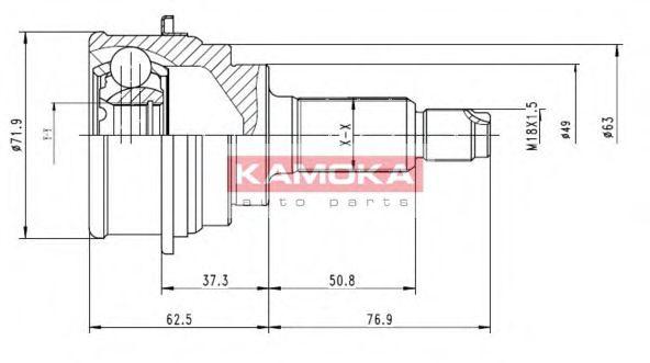 ШРУС Шарнирный комплект, приводной вал KAMOKA арт. 7016