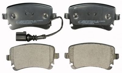 Гальмівні колодки дискові зад. (з датчиком) Audi A4, A6 2.0TDI-6.75V8R 08.99- VW Т5  DENCKERMANN B110853