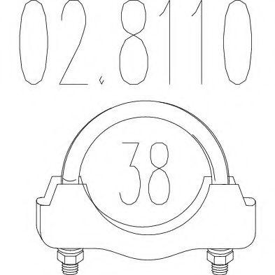 Хомут выхлопной системы U-образный (М10, Диаметр 38 мм)  арт. 028110