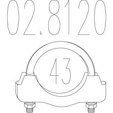 Хомут выхлопной системы U-образный (М10, Диаметр 43 мм)  арт. 028120