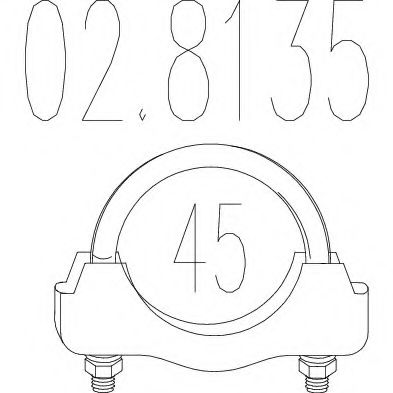 Хомут выхлопной системы U-образный (М10, Диаметр 45 мм)  арт. 028135