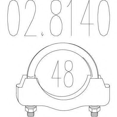 Хомут выхлопной системы U-образный (М10, Диаметр 48 мм)  арт. 028140