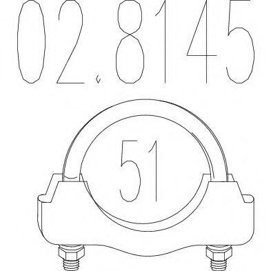 Хомут выхлопной системы U-образный (М10, Диаметр 51 мм)  арт. 028145