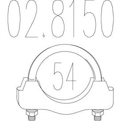 Хомут выхлопной системы U-образный (М10, Диаметр 54 мм)  арт. 028150