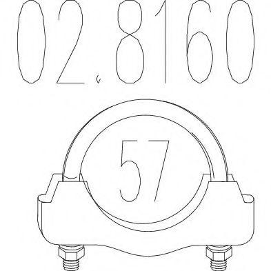 Хомут выхлопной системы U-образный (М10, Диаметр 57 мм)  арт. 028160
