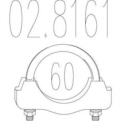 Хомут выхлопной системы U-образный (М10, Диаметр 60 мм)  арт. 028161