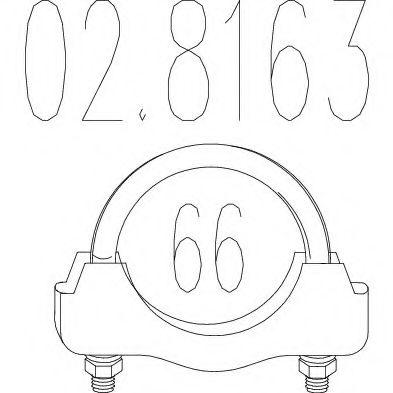 Хомут выхлопной системы U-образный (М10, Диаметр 66 мм)  арт. 028163