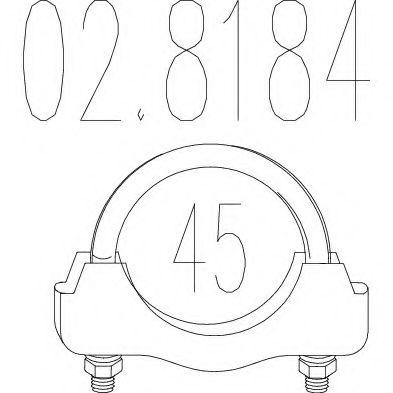 Хомут выхлопной системы U-образный (М8, Диаметр 43 мм)  арт. 028184