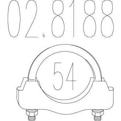Хомут выхлопной системы U-образный (М8, Диаметр 54 мм)  арт. 028188