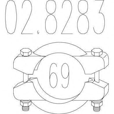 Хомут выхлопной системы биконический (Диаметр 69 мм)  арт. 028283
