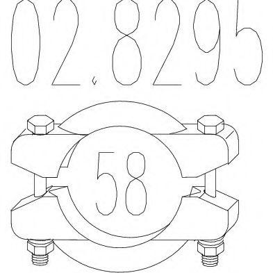 Хомут выхлопной системы биконический (Диаметр 58 мм)  арт. 028295