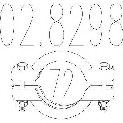 Хомут выхлопной системы биконический (Диаметр 72 мм)  арт. 028298
