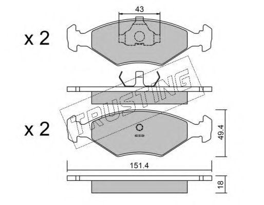 Гальмівні колодки перед. Fiat Fiorino 1.1-1.7D 84-96  TRUSTING 0593