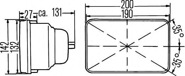 Вставка фары, основная фара  арт. 1AE003427021