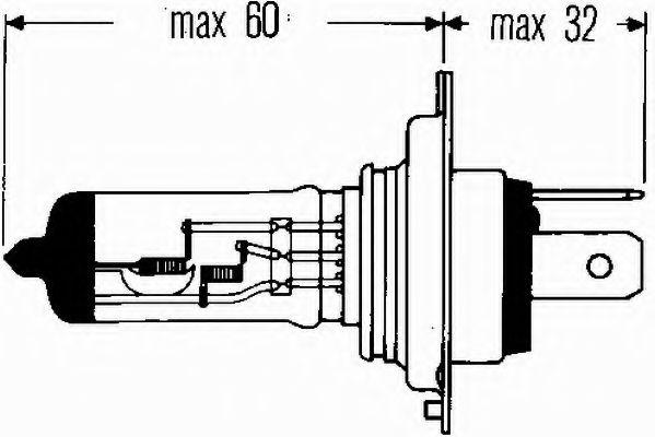 Лампа накаливания, фара дальнего света, Лампа накаливания, основная фара, Лампа накаливания, противотуманная фара, Лампа накаливания, основная фара  арт. 8GJ002525131