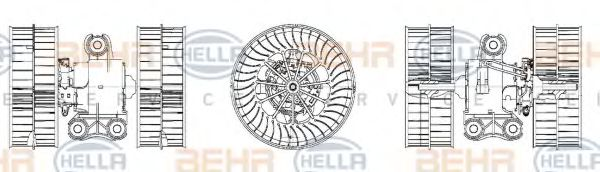 Вентилятор кондиционера HELLA 8EW009158171