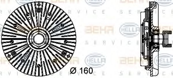 Муфта вискозная вентилятора охлаждения BMW 320D/TD (E46) 04/98 -,5 (E39) 520/530 02/00- HELLA 8MV376732041