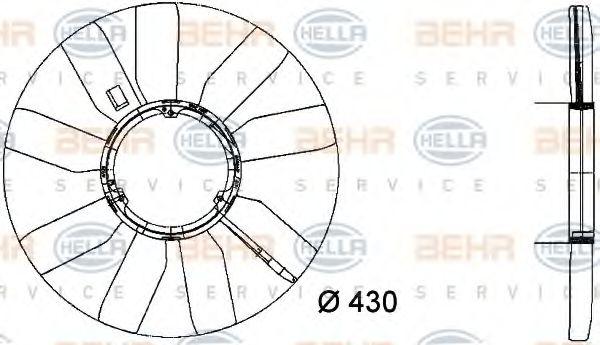 MS VITO  Муфта/ Крыльчатка вентилятора охлаждения HELLA 8MV376733281