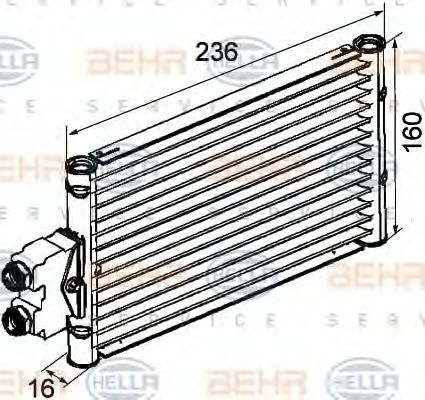 Масляный радиатор АКПП Масляный радиатор, автоматическая коробка передач HELLA арт. 8MO376747201