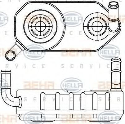 Масляный радиатор АКПП HELLA арт. 8MO376787671