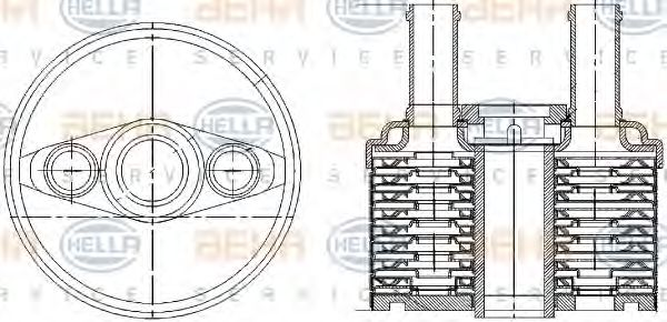 Масляный радиатор АКПП HELLA арт. 8MO376787691