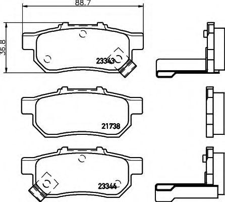 Комплект тормозных колодок, дисковый тормоз  арт. 8DB355017151