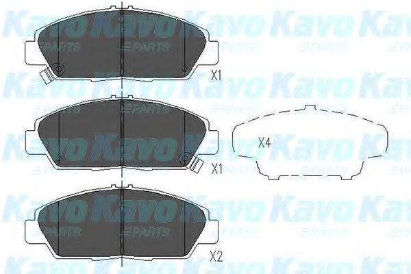 KAVO PARTS HONDA Тормозные колодки передн.Accord 2.0,2. 90-5/93,1.8I 5/93- KAVOPARTS KBP2005