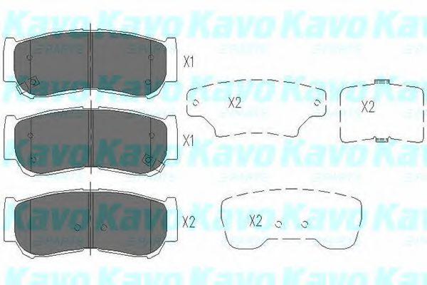 KAVO PARTS HYUNDAI Тормозные колодки задн.Santa Fe 06,- Rodius KAVOPARTS KBP3024