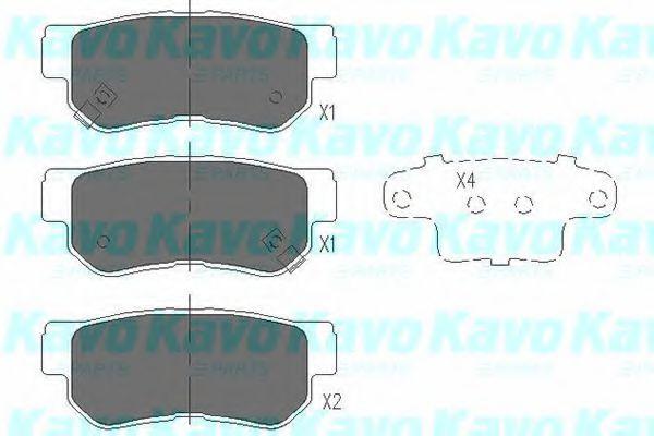 KAVO PARTS HYUNDAI Тормозные колодки задн.Santa Fe 01- KAVOPARTS KBP3035