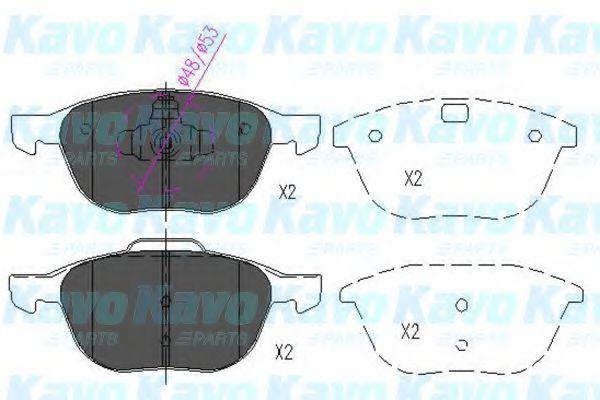 KAVO PARTS FORD Тормозные колодки передн.C-Max,Focus II,III,Kuga I,II ;Mazda 3,5 KAVOPARTS KBP4513