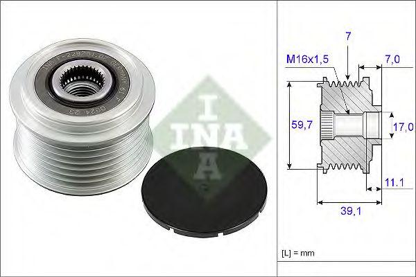 Механизм свободного хода генератора RENAULT (пр-во Ina)                                              в интернет магазине www.partlider.com