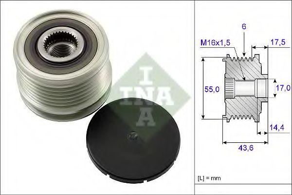 Механизм свободного хода генератора DACIA (пр-во Ina)                                                в интернет магазине www.partlider.com