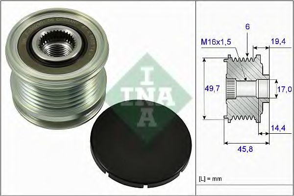Механизм свободного хода генератора MERCEDES (пр-во Ina)                                             в интернет магазине www.partlider.com