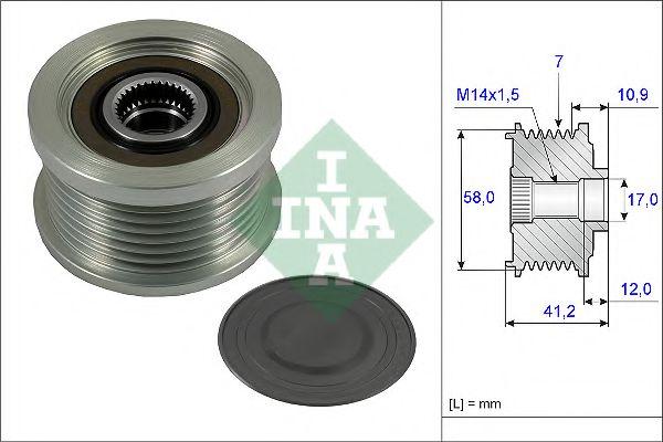 Механизм свободного хода генератора TOYOTA LAND CRUISER PRADO 3.0 D-4D 07/09 - (Пр-во INA)           в интернет магазине www.partlider.com