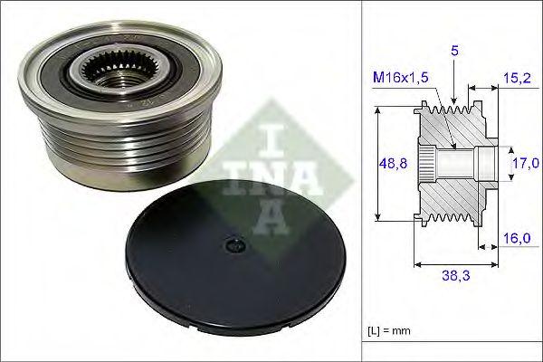 Механизм свободного хода генератора OPEL,RENAULT (пр-во Ina)                                         в интернет магазине www.partlider.com