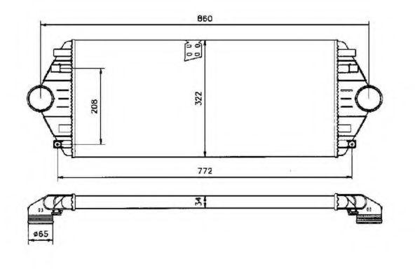 Интеркулер Интеркулер Citroen Jumpy 1.9TD 94-, Peugeot Expert, 806 1.9TD NRF арт. 30803