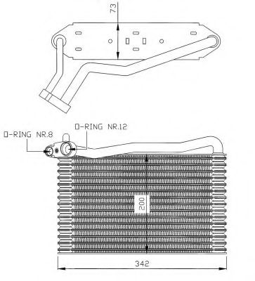 Випарювач кондиціонера Audi A4 96-01/Skoda Super B 02-08/VW Passat 96-05  NRF 36037